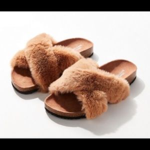 Urban Outfitters Crosses Fuzzy Slides- Tan- Sz 7